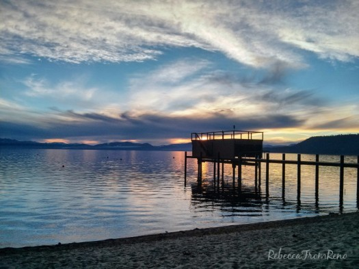Cloudy sunsets over Lake Tahoe create memorable views. Rebecca from Reno